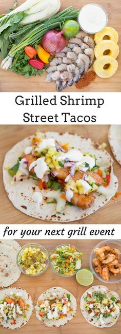 you'll love these grilled shrimp street tacos at your next grill event! Flour tortilla filled with a bok choy slaw, grilled seasoned shrimp, pineapple salsa and a lime crema. All thanks to The American Shrimp Company of Louisianna