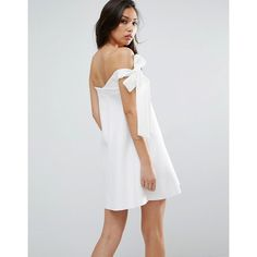 ASOS One Shoulder Bow Trapeze Mini Dress ($40) ❤ liked on Polyvore featuring dresses, white, one shoulder prom dresses, off the shoulder prom dresses, short sleeve dress, white off shoulder dress and white party dresses