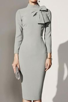 Product Name Crew Neck Bowknot Plain Bodycon Dress Brand Name Chicokay SKU Collar & neckline Crew Neck Dress Silhouette Fitted Embellishment Dress Silhouette, Mode Vintage, Mode Outfits, Girly Outfits, Dressy Outfits, Chic Outfits, Business Attire, Business Fashion, Business Casual