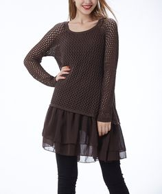 Look at this #zulilyfind! Simply Couture Brown Crochet Scoop Neck Tunic by Simply Couture #zulilyfinds