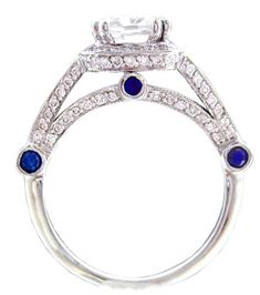 18k white gold cushion cut diamond and sapphire engagement ring art de