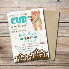 A Little Cub is on His Way, Cub Baby Shower, Tribal Baby Shower Invitations, Tribal Animals, Couples Baby Shower, Printable Invites  This listing is for a PRINTABLE one-sided Baby Shower invitation for you to print at home or print through a print shop. This card comes as 4x6 or 5x7. *Let me know if you want a different color font, I can change it for you at no additional charge.   Everything is sent through email only for you to print yourself. Nothing will be shipped to you, so no more…