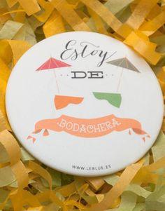 Chapas LeBlue para bodas: Modelo bodachera  #chapas #bodas #leblue