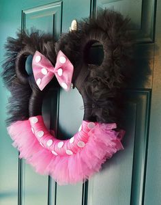 Minnie Mouse Tulle Wreath by LoveNestBoutique on Etsy. Super cute for minnie party or disney count down! Holiday Wreaths, Mesh Wreaths, Holiday Crafts, Yarn Wreaths, Winter Wreaths, Floral Wreaths, Summer Wreath, Burlap Wreaths, Spring Wreaths