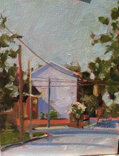 ORIGINAL Oil Painting. Plein Air Urban America Landscape. Impressionist street corner. Affordable home decor. Colorful wall art on a budget. $400 by SarahsArtScene on Etsy