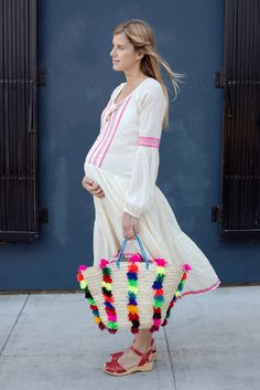 Free People Dress- bag was bought in NYC -   You can create the bag- buy a plain straw bag and neon pompous    @ www.thedesignerbump.com  Consign with us!