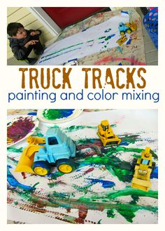 This simple truck tracks painting is a fun idea for kids in preschool and kindergarten. This simple truck tracks painting is a fun idea for kid Preschool Crafts, Crafts For Kids, Art Crafts, Preschool Art Lessons, Toddler Activities, Learning Activities, Transportation Theme Preschool, Construction Theme Preschool, Truck Crafts