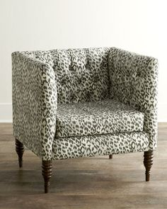 "33""W x 28""D x 33""T. Like this chair -different upholstery? Bosana Tufted Armchair at Horchow."