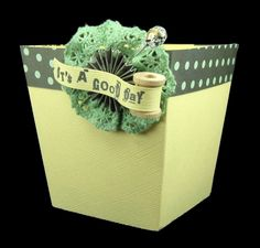 doily and spool box accent