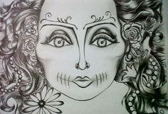 La reina de la Muerte, Creyon y tinta china