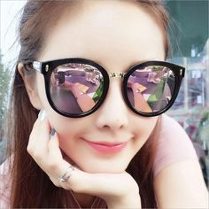 Special price Large Round Fashion Women Sunglasses Pink Black Frame Rivets Arrow Sun Glasses Men Quality Eyewear Accessories Shades just only $5.18 with free shipping worldwide  #womanaccessories Plese click on picture to see our special price for you