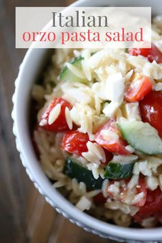 This Italian Orzo Pasta Salad from The Taylor House is deliciously fresh and light. It's perfect side salad to make in the summer with fresh tomatoes, onion, and cucumbers! Best Salad Recipes, Summer Salad Recipes, Salad Recipes For Dinner, Potluck Recipes, Orzo Recipes, Easy Recipes, Potluck Ideas, Potluck Dishes, Rice Recipes