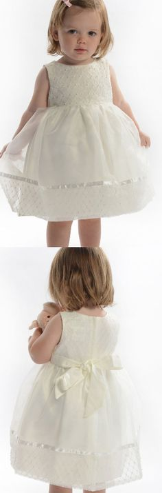 Flower Girl Dresses, A Line dresses, Ivory Flower Girl Dresses, Zipper Flower Girl Dresses, Bowknot Flower Girl Dresses, Round Flower Girl Dresses, A-line/Princess Flower Girl Dresses