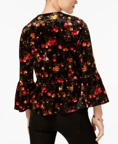 Monteau Petite Floral-Print Velvet Peplum Blazer - Black P/XL