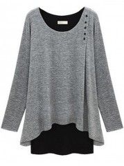 Loose Fitting Mock Two-piece Plus Size T-shirt