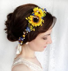 sunflower crown, sunflower hair wreath, yellow and blue wedding, floral crown, bridal floral crown, wedding hairpiece, bridal hadpiece