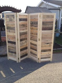"""Handmade Primitive Room Divider / Movable Wall / Screen made from Antique Looking Wood - 5' 10"""" Tall with Four Panels - Beautiful!"""