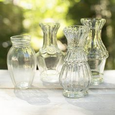 Vintage Luncheon Vases, 4 in - 5.25 in tall, Clear Glass, Set of 4