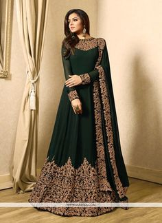 Largest collection of the best priced latest bollywood salwar kameez. Shop for alluring Drashti Dhami embroidered, patch border and resham work floor length anarkali suit at best price with free shipping. - New Arrivals