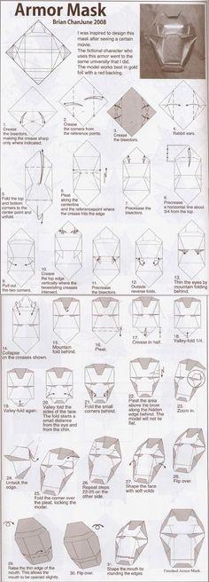 Máscara origami [Tutorial] Iron Man