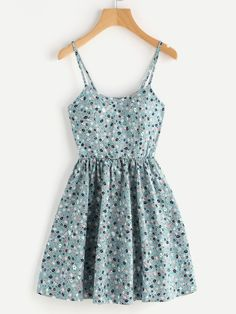 Ditsy Print Random Lace Up Back A Line Cami Dress