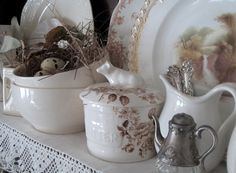gorgeous ironstone and brown transferware from Jacqueline at Cabin and Cottage.