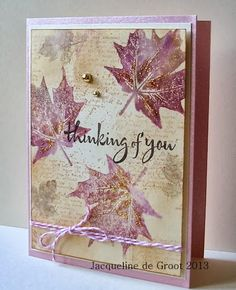 Jacqueline's Craft Nest: An Autumn share using Hero Arts (leaf image) & gold glitter Fall Cards, Winter Cards, Holiday Cards, Karten Diy, Leaf Cards, Origami, Beautiful Handmade Cards, Stamping Up Cards, Thanksgiving Cards