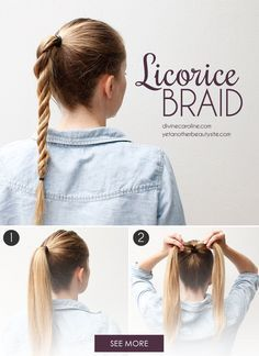 The licorice braid is perfect for the days when you don't have much time but still want a fun hair look. #LicoriceBraid #Hairstyles