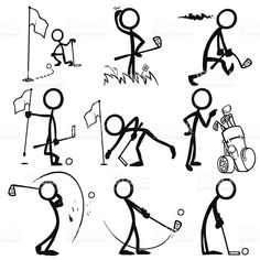 Stick figures playing golf - Stick figure people playing golf Royalty Free Stick figure people playing golf stock vector art & m - Golf Drawing, Mini Golf, Golf Tattoo, Stick Figure Drawing, Golf Art, Sketch Notes, Stick Figures, Play Golf, Free Vector Art