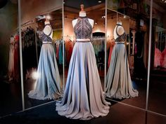 A-Line Prom Dresses Women's Halter Crystals Sequins Beaded Open Back Two Pieces