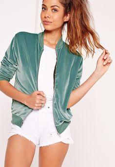 Missguided - Velvet Bomber Jacket Green