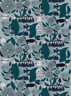 Kaino-pellava (harmaa, turkoosi, t.sininen) |Kankaat, Pellavat | Marimekko