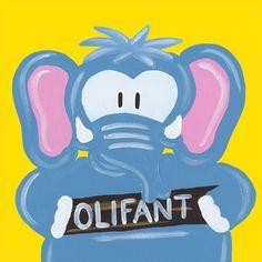 Kinderschilderijtje Beessie Olifant. Verkrijgbaar in verschillende soorten achtergrond kleuren en formaten.