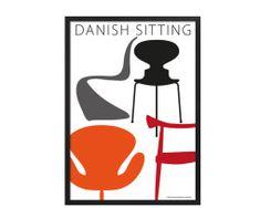 Plakater Kim lynnerup Danish sitting #plakat #poster #KimLynnerup #plakatgalleridk #ArneJacobsen #Wegner #Juhl