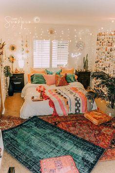 Bedroom ideas for strikingly sweet room decor. Why not Try the bedroom decor pin 6955265735 immediately. Dream Rooms, Dream Bedroom, Bedroom Bed, Bedroom Inspo, Boho Bed Room, Bohemian Dorm Rooms, Summer Bedroom, Cosy Bedroom, Budget Bedroom