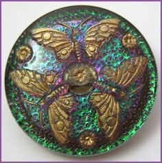 Colorful Old Vintage Czech Glass Button w Three Gold Butterflies Pretty | eBay