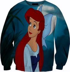 Ariel The Little Mermaid Sweater Crew neck Sweatshirt 1080p HD All over Print
