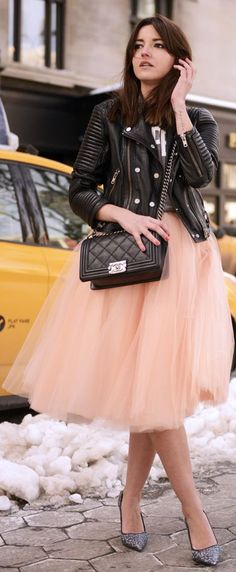 Quartz Pink A-Line Tulle Skirt By Bgo & Me on NYFW by Lovely Pepa => Click to see what she wears
