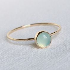 aqua chalcedony hammered gold stacking ring
