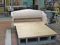 DIY bedframe from a couch - would look so great with a vintage/tufted couch