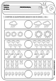 A Arte de Ensinar e Aprender: Atividade pronta - Matemática Kindergarten Math Worksheets, Science Worksheets, Reading Worksheets, Preschool Lessons, Kindergarten Reading, Math Lessons, Preschool Activities, Montessori Art, Kids English