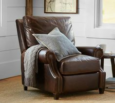 Pottery barn james leather recliner