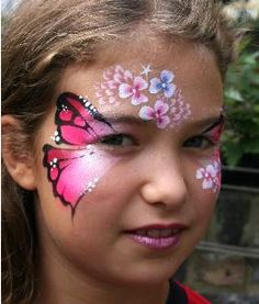 really cute one stroke flower face paint design face. Black Bedroom Furniture Sets. Home Design Ideas