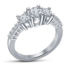 1.16 Carat Brilliant Round Cut Diamond Three Stone Engagement Ring in 925 Silver #aonedesigns