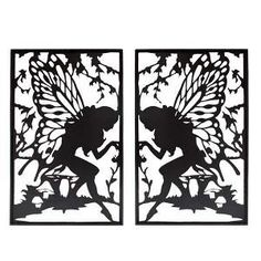 Metal Fairy Silhouette Wall Art x 2 - Black