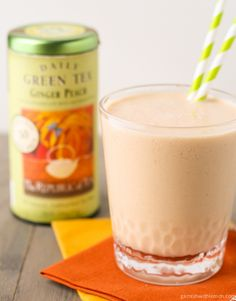 Ginger Peach Green Tea Smoothie ~ ½ cup brewed Ginger Peach Green Tea, cooled 1 cup sliced, peeled peaches (I used frozen peaches) ½ cup vanilla greek yogurt ½ banana ½ tsp grated fresh ginger.  Combine all ingredients in a blender and process until smooth.