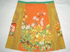daisies and daffodilsvintage fabric Aline skirt by grevilleadesign