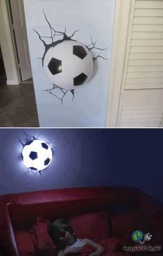 10 Insanely Cool Wall Lamps - cool lamps, unusual lamps I luv these I buy them as gifts for boys for birthdays they have everyting from hockey tennis football . Nate wants a soccer room so now i just bought him 1 too! 3d Deco Light, 3d Light, Football Rooms, Football Pub, Football Gift, Hockey Gifts, Baseball, Ideias Diy, Cool Stickers