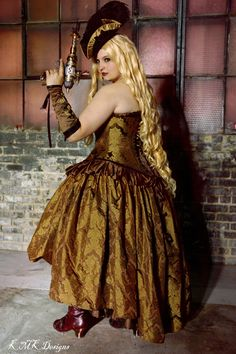 Industrial Steampunk Dress Corset in Gold and Brown Damask by KMK Designs.