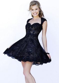Queen Ann Neck Open Back Lace Beaded Black Nude Homecoming Dress